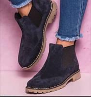 Подростковые замшевые ботинки Mante челси синий замш весна осень, фото 1