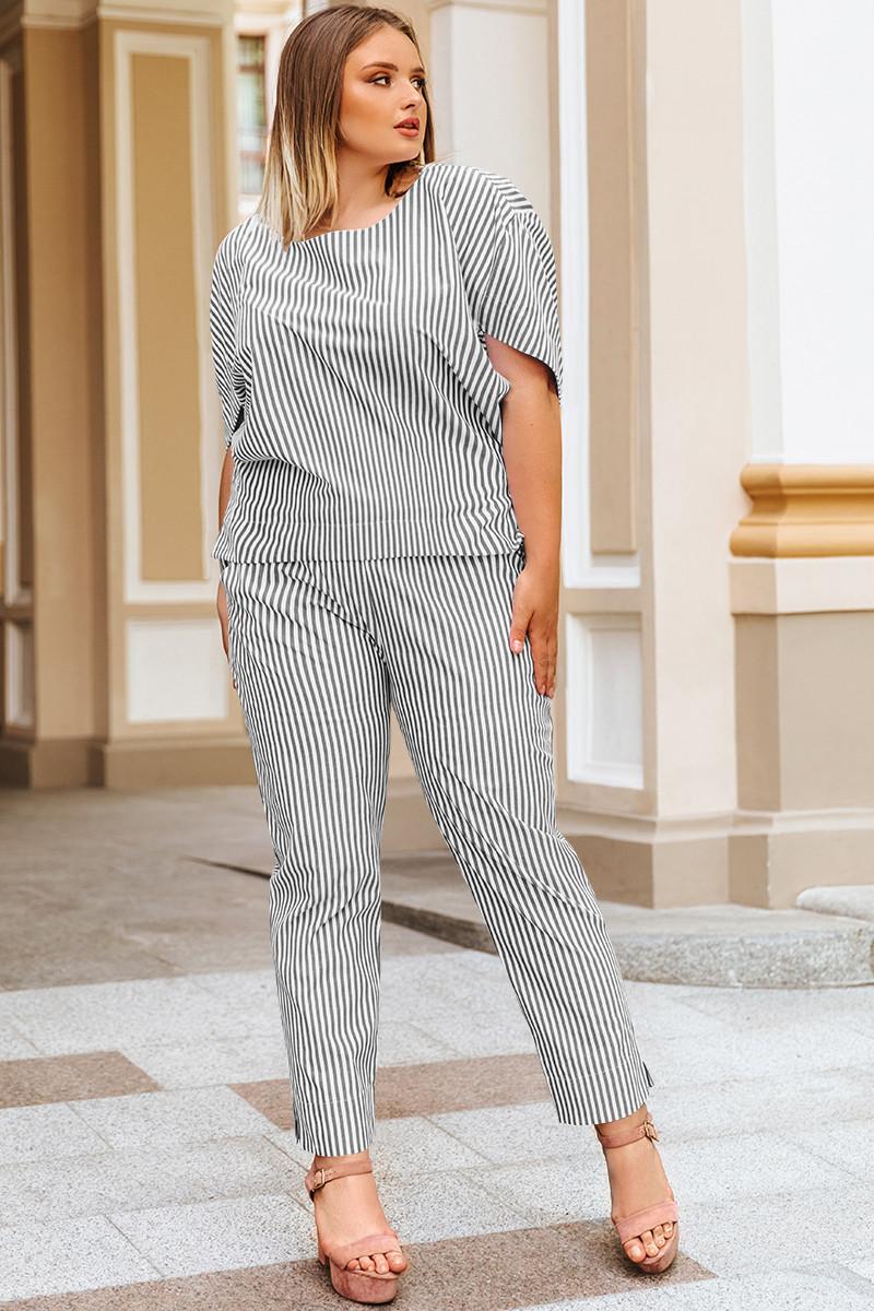 Жіночі батальні штани Паула в чорно-білу смужку