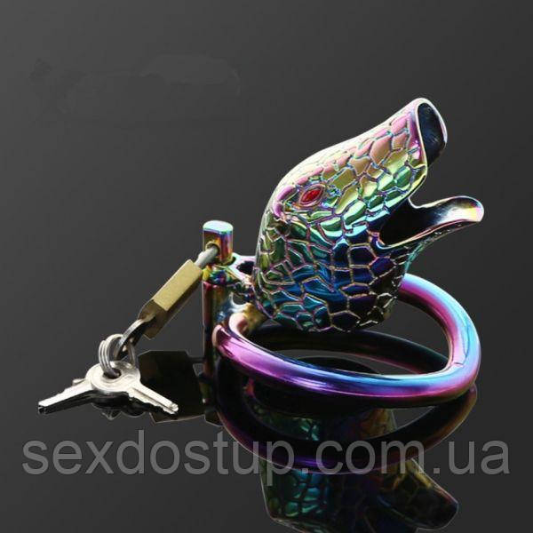 Stainless steel latest multicolour ophicephalous chastity device