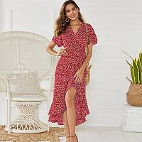 Платье женское летнее длинное на запах с воланами в мелкий цветочек (красное) M