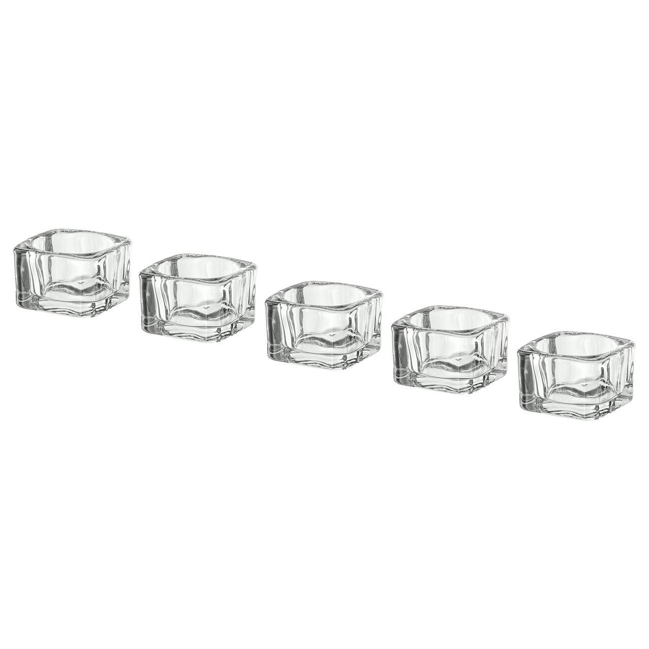 IKEA GLASIG ( 002.591.41) Підсвічник для свічки-таблетки, прозоре скло 5x5 см (набір 5 шт).