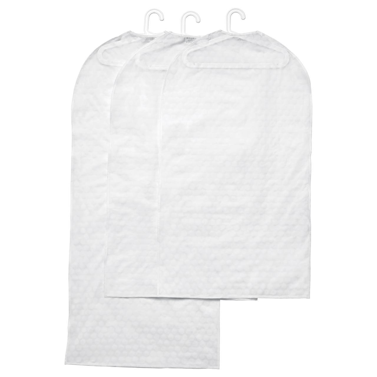 IKEA URING (102.872.52) Чохол для одягу, 3 шт, білий прозорий