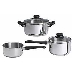 IKEA ANNONS (902.074.02) Набор посуды, 3 шт., Стекло, нержавеющая сталь