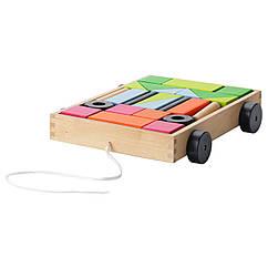 IKEA  MULA (004.521.29) Набір кубиків із візком 24 предмети