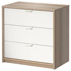 IKEA ASKVOLL (202.708.02) Комод із 3 шухлядами, під білений дуб/білий 70x68 см