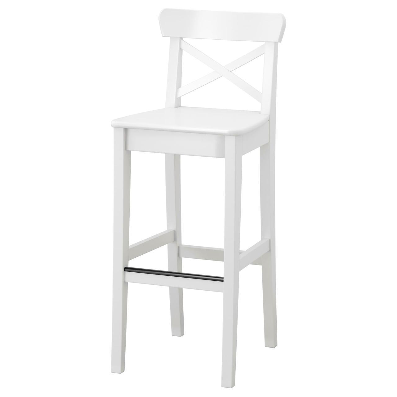 IKEA INGOLF (001.217.66) Барний стілець зі спинкою, білий 74 см
