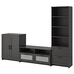 IKEA  BRIMNES ( 191.843.39) Комбінація шаф для телевізора, чорний 258x41x190 см