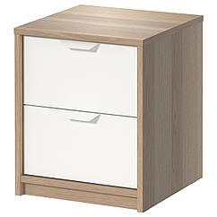 IKEA ASKVOLL (202.708.16) Комод із 2 шухлядами, під білений дуб/білий 41x48 см