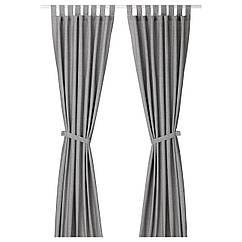 IKEA LENDA ( 003.191.78) Штори із зав'язками, 1 пара, сірий 140x300 см