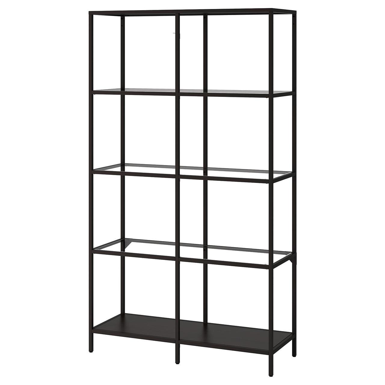 IKEA  VITTSJÖ (202.133.12) Стелаж, чорно-коричневий/скло 100x175 см