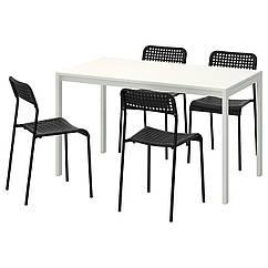 IKEA MELLTORP / ADDE (791.614.86) Стол и 4 стула, черный