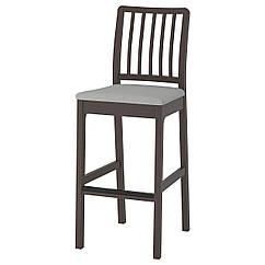 IKEA  EKEDALEN (104.005.40) Барний стілець зі спинкою, темно-коричневий/ОРРСТА світло-сірий 75 см
