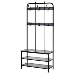 IKEA PINNIG (203.297.89) Віш д/верх одягу з лавк д/збер взут, чорний 193 см