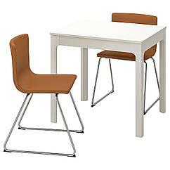 IKEA EKEDALEN / BERNHARD ( 092.806.90) Стіл+2 стільці, білий/МЙУК золотаво-коричневий 80/120 см