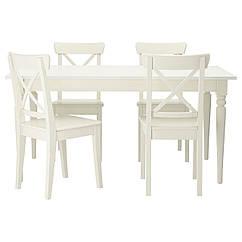 IKEA INGATORP / INGOLF (299.173.07) Стіл+4 стільці 155 см