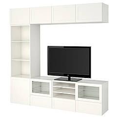IKEA  BESTÅ (291.949.60) Комбінація шаф для тв/скляні дверц 240x40x230 см