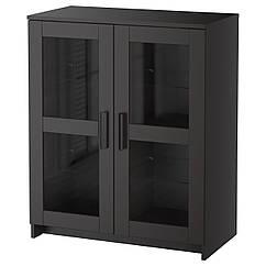 IKEA BRIMNES (003.006.64) Шафа з дверцятами, скло/чорний 78x95 см