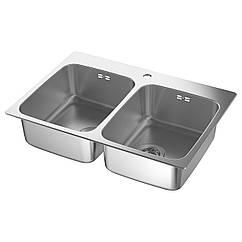 IKEA LANGUDDEN (191.574.87) Подвійна врізна мийка, нержавіюча сталь 75x53 см