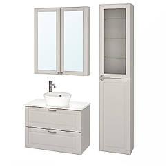 IKEA GODMORGON/TOLKEN / KATTEVIK ( 993.163.31) Меблі для ванної кімнати, набір 6шт, КАШЕН світло-сір