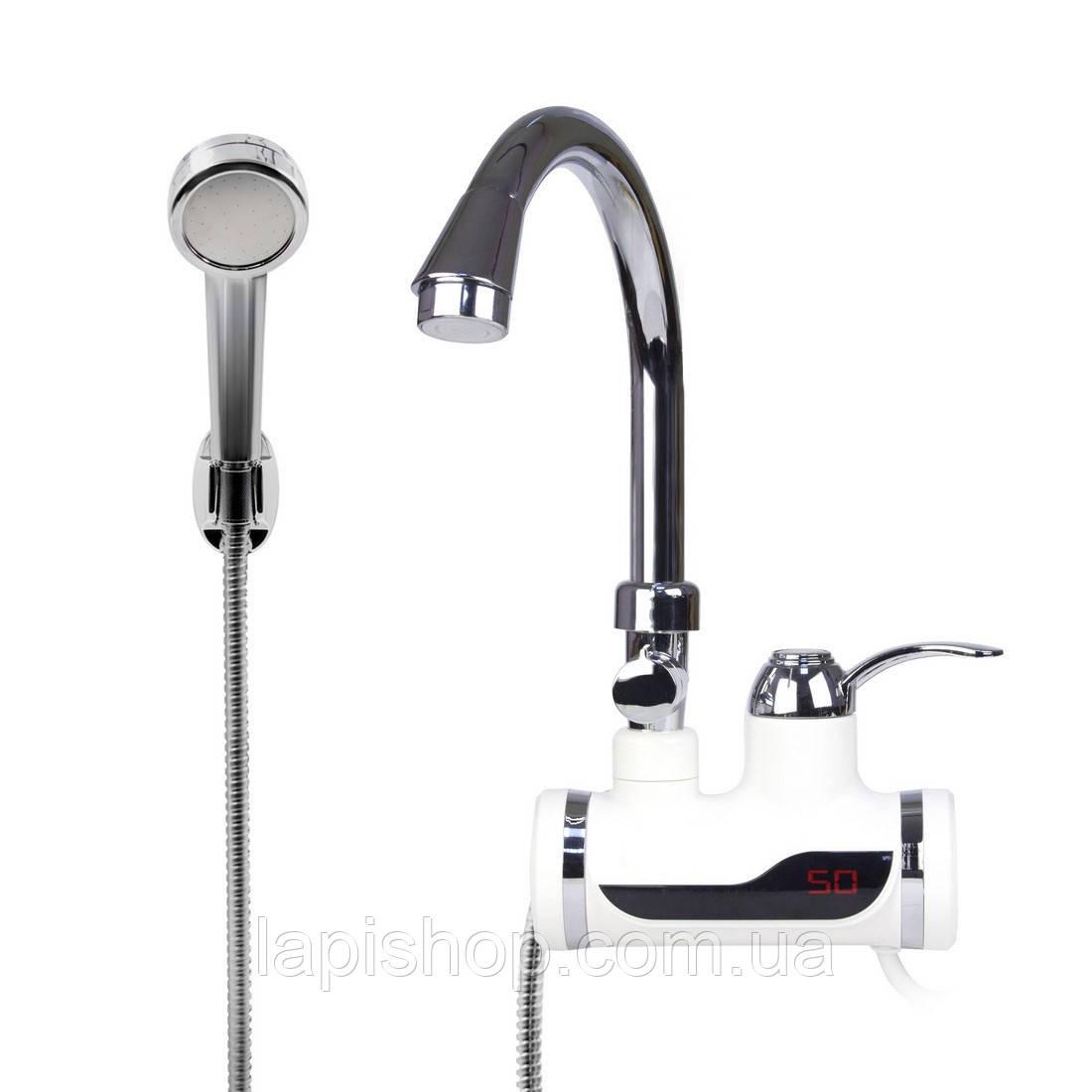 Проточный водонагреватель с боковым креплением и душем