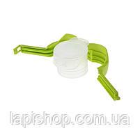 Зажим с крышкой для пакетов Зеленый с белым, фото 2
