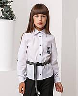 "Белая школьная блуза рубашка  для девочки ""Likee""  128р"