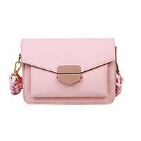 Женская розовая сумка с плетеным ремнем код 3-461
