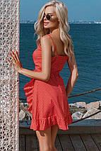 Платье сарафан красные на бретельках на лето в горошек с воланом с поясом, фото 3