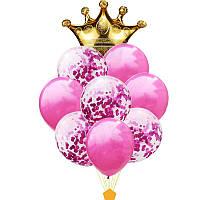 """Набор шаров """" Корона с конфетти """" 9 шт, для оформления праздника"""