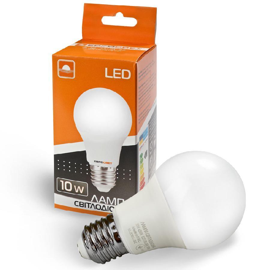 Лампа світлодіодна ЕВРОСВЕТ 10Вт 4200К A-10-4200-27 Е27