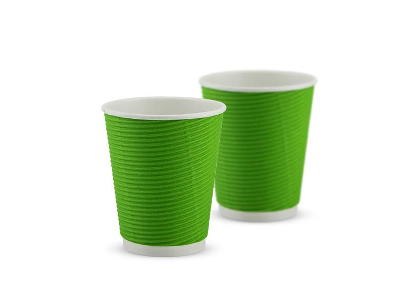 Гофрированный стакан 110 мл, зелёный, 25 шт/рук., 1750 шт/ящ.