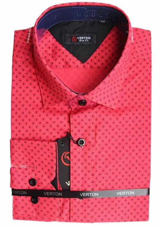 Модная подростковая рубашка для мальчика красного цвета