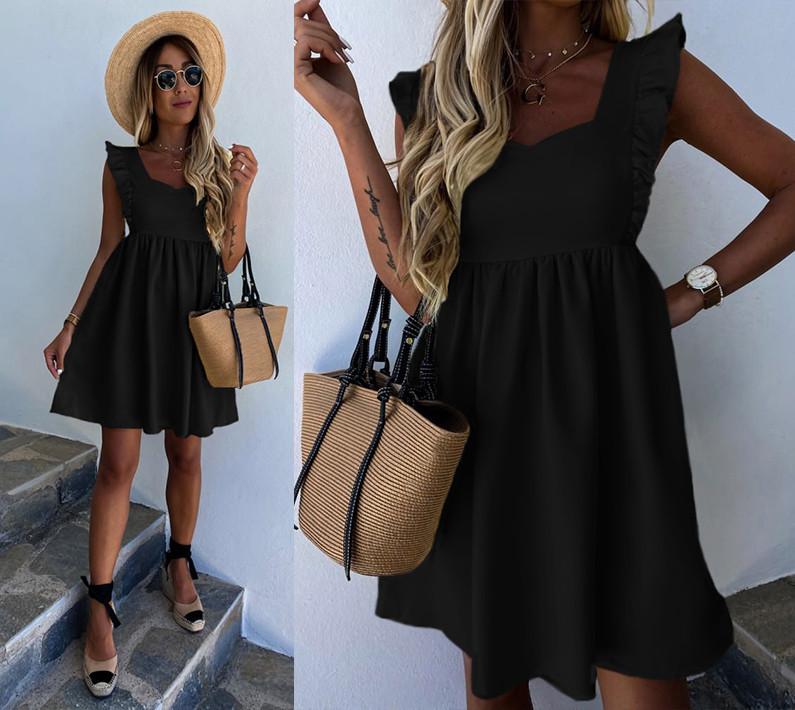 Платье женское на широких бретельках на лето с завышенной талией черное