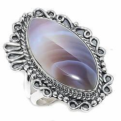 Мельхиоровое кольцо с агатом, 2408КЦА