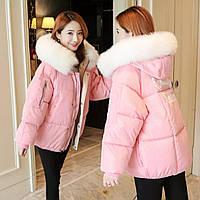 Молодежнная зимняя куртка для девушек размеры 48-52,розового цвета