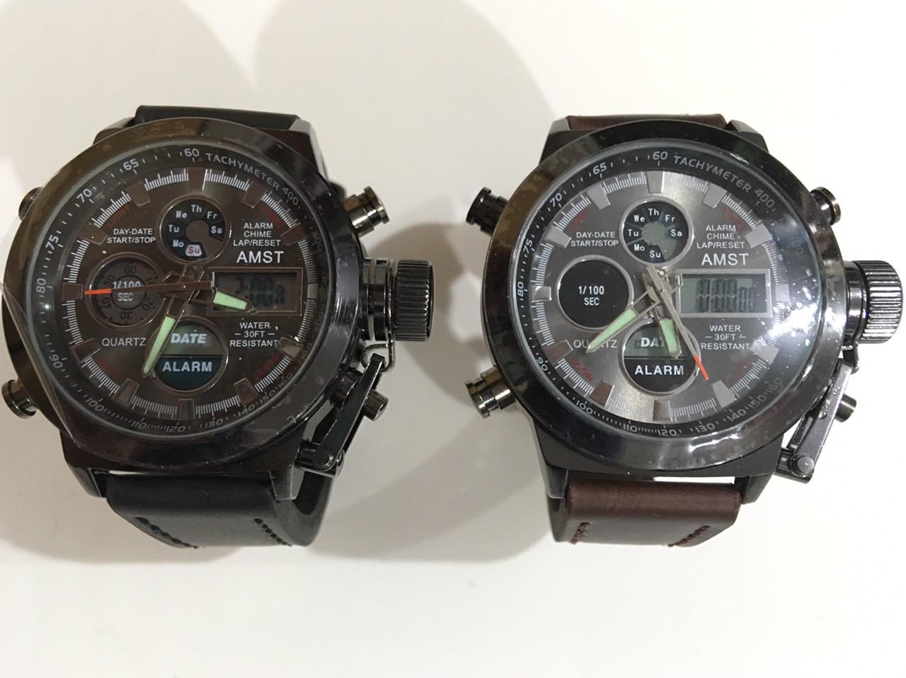 Часы мужские наручные, кварцевые, армейские, военные АМСТ коричневый ремешок