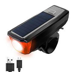 Фара велосипедная West Biking HJ-052 0701182 Black с солнечной панелью выносной кнопкой водонепроницаемая