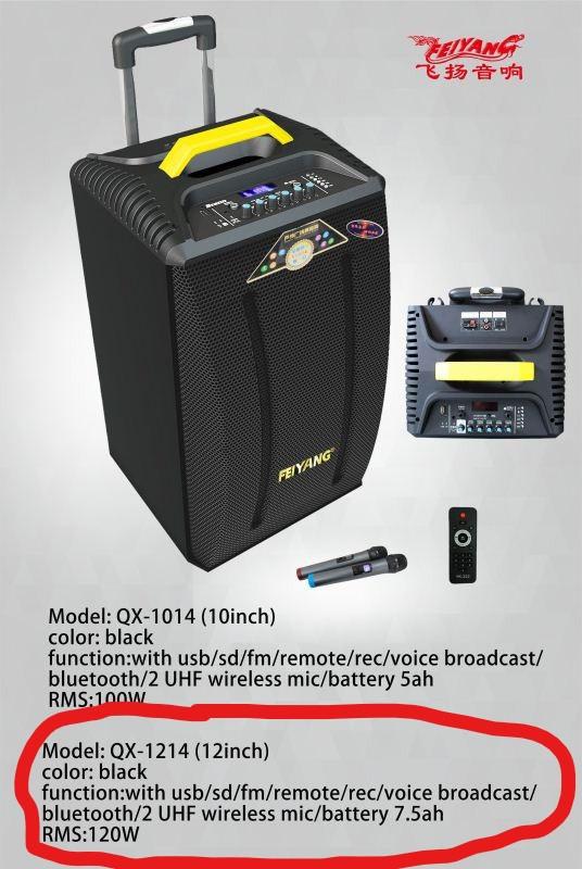 Колонка аккумуляторная Temeisheng QX-1214 USB, Bluetooth, 2 микрофона