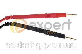 Шнуры мультиметра с серыми тонкими щупами, 20А, 4мм, силиконовый кабель (пара)