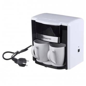 Капельная кофеварка Domotec MS 0708 с двумя фарфоровыми чашками White в комплекте