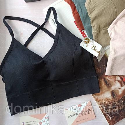 Женский  спортивный бесшовный  Топ, топик  чашки сьемные, размер S/M черный цвет, фото 2