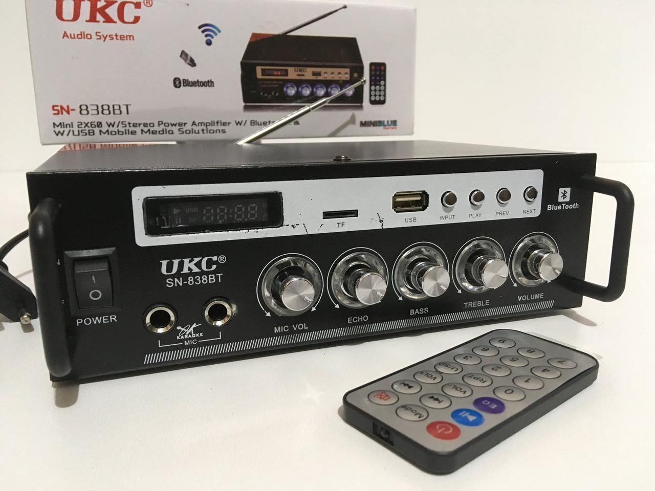 Усилитель звука UKC SN-838 BT USB, SD, AUX, Bluetooth, караоке, пульт