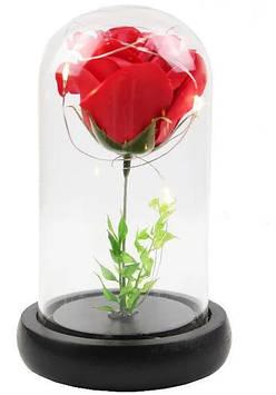Роза в колбе с LED подсветкоймаленькая красная №А51
