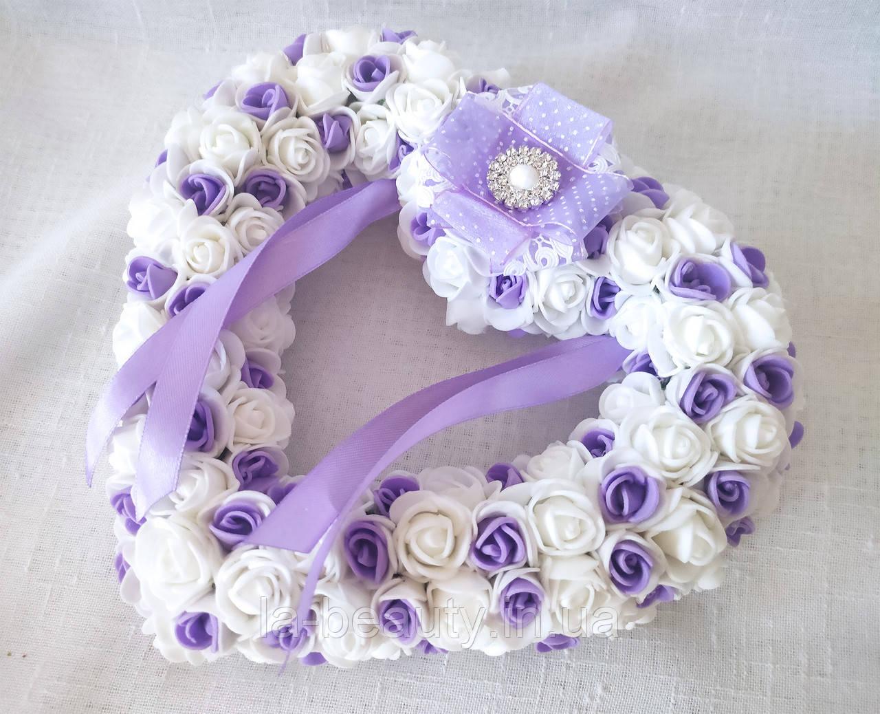 Свадебная подушечка для обручальных колец сердце из роз сиреневая белая LA BEAUTY Studio люкс