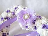 Свадебная подушечка для обручальных колец сердце из роз сиреневая белая LA BEAUTY Studio люкс, фото 2