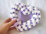 Свадебная подушечка для обручальных колец сердце из роз сиреневая белая LA BEAUTY Studio люкс, фото 3