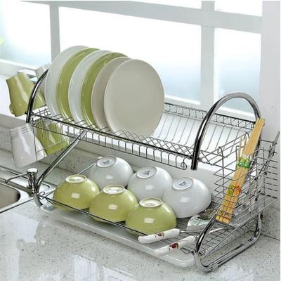 Cушка для посуды двухярусная Kitchen storage rack NJ-116 cтойка для хранения посуды