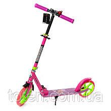 Самокат Explore PRIME рожевий , що світяться колеса, ручного гальма, амортизатори, дзвінок