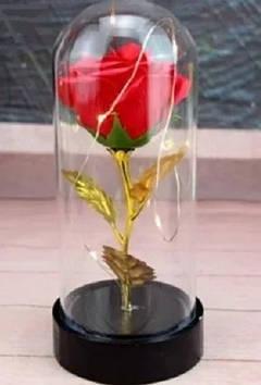 Роза в колбе с LED подсветкоймаленькая красная №А54
