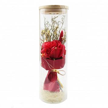 Роза в колбе с LED подсветкойбольшая красная №А52